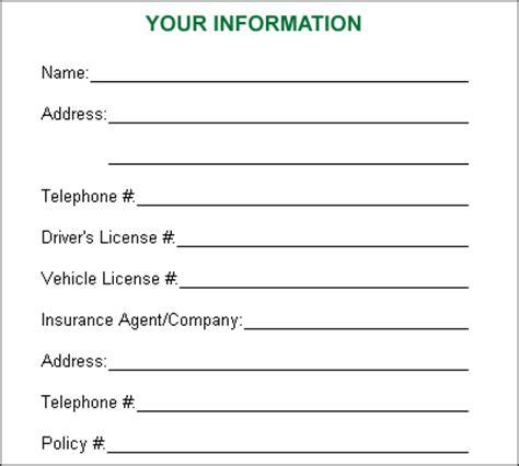 crash card template car legalities checklist experienced rochester