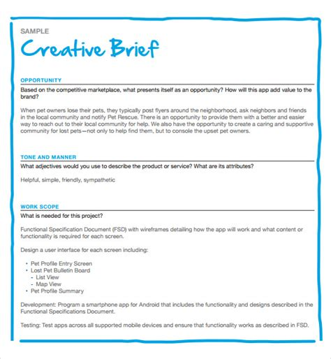 marketing brief template sle creative brief template 9 free documents in pdf