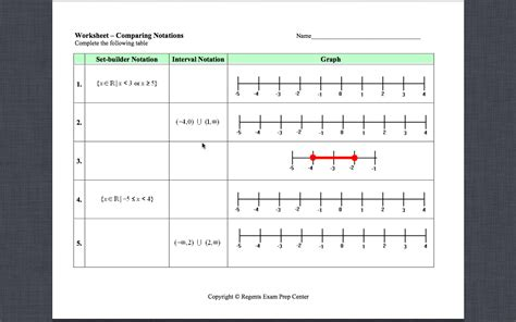 Interval Notation Worksheet