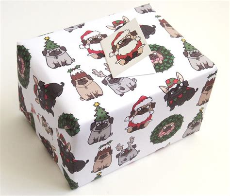 pug christmas gift wrap and tags