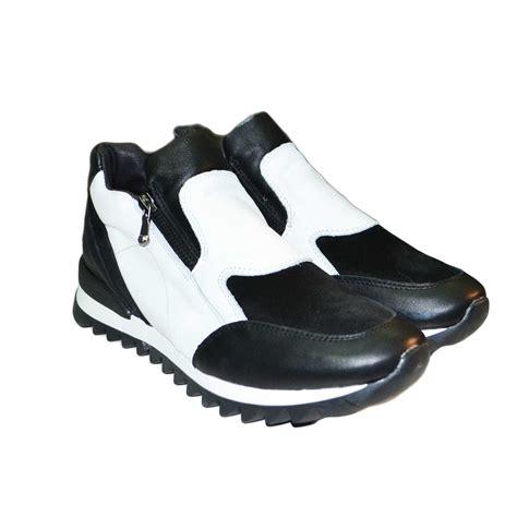 Sneakers Shoes E sneakers bassa donna con zip bicolore vera pelle made in