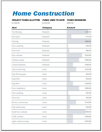 home construction expense calculator worksheet excel