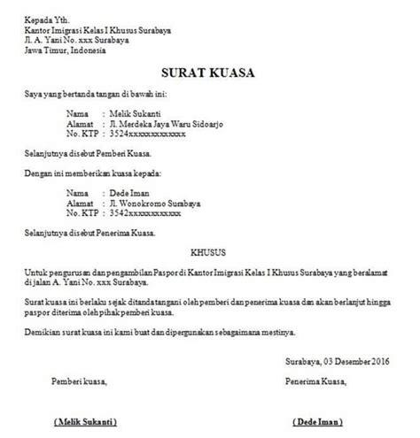 10 contoh surat kuasa perseorangan terlengkap contoh surat