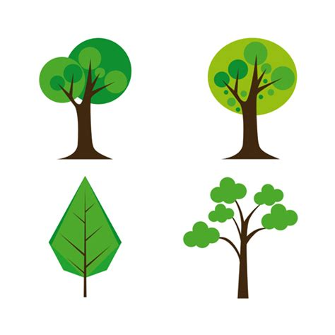 cute trees cute tree vector illustration set 03 vector plant free