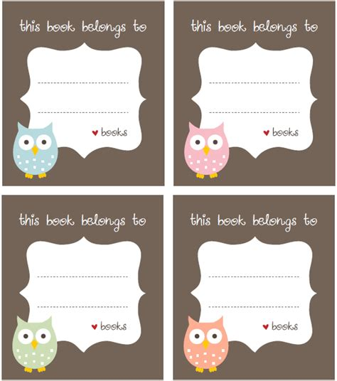 free bookplate label template free printable labels