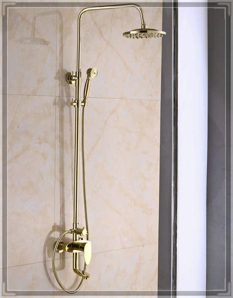 Bathroom Fixtures Gold Finish Gold Finish Bathroom Rainfall Shower Faucet System Swivel