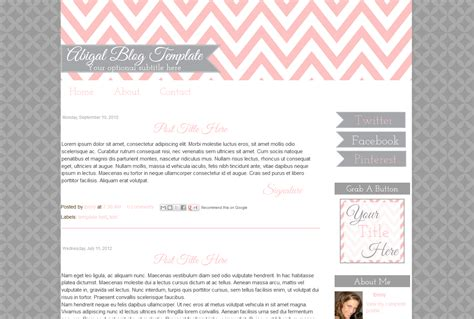 premade blogger template simple pink and grey blog template blog templates chevron pink premade cute abigal bd web