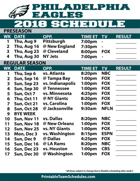 printable eagles schedule 2016 2015 2016 nfl schedule printable search results