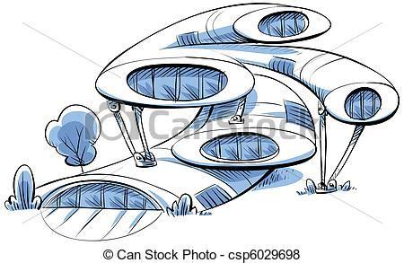 dessin bateau du futur stock illustration of future house a cartoon futuristic