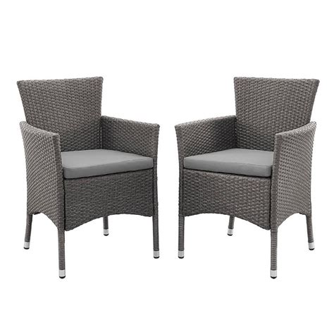 Patio Dining Chairs With Cushions Walker Edison Furniture Company Grey Rattan Outdoor Dining Chair With Grey Cushions Set Of 2