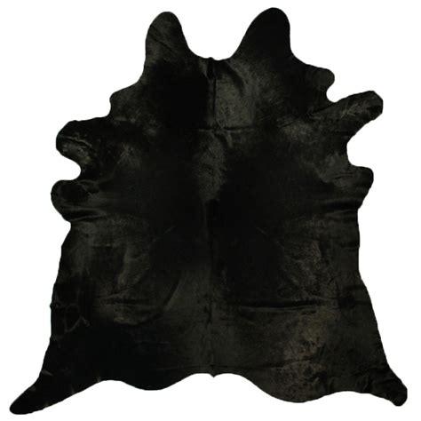 Black Friday Cowhide Rug Black Hair Cow Skin Solid Black Cowhide Rug By