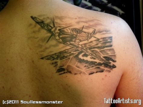 spitfire tattoo spitfire on right back shoulder by soullessmonster