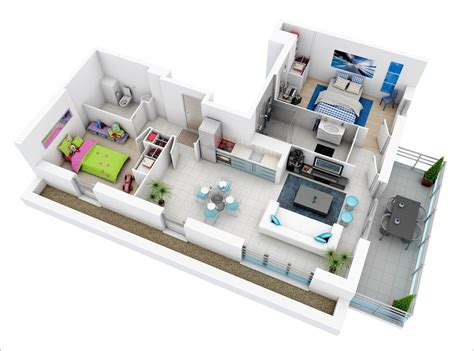 10 Awesome Two Bedroom Apartment 3d Floor Plans - 10 awesome two bedroom apartment 3d floor plans