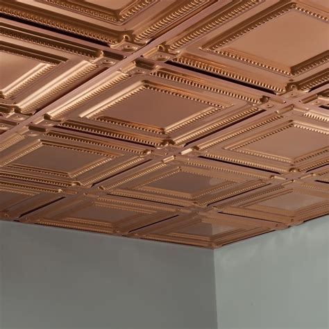 Drop Ceiling Prices Per Square Foot by Fasade Ceiling Tile 2x2 Suspended Coffer In Polished Copper