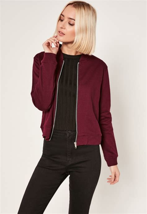 Jaket Jacket Murah King Maroon burgundy loop back jersey bomber jacket missguided
