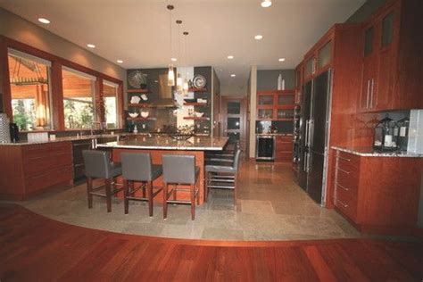 Contemporary Kitchen Cabinets Wood Cabinets With Wood Floor And Ceiling For Kitchen