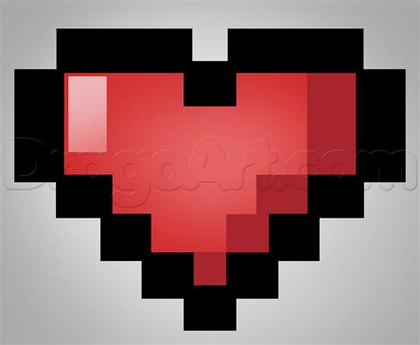 how to draw a pixel heart step by step video game