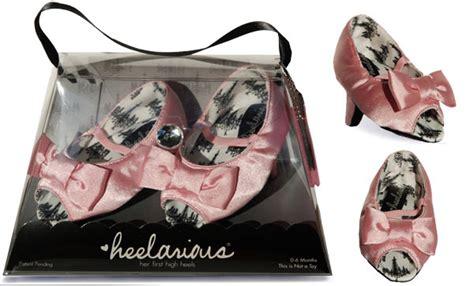 heelarious baby high heels pink open toe