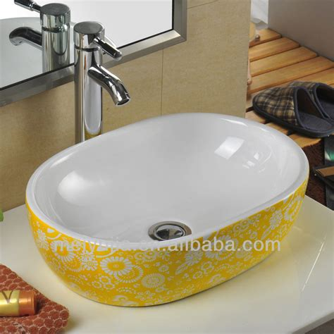 wash basin designs basin design yellow flower art basin table top wash basin