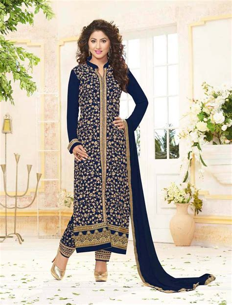 Wedding Bell Lajpat Nagar by Buy Styles Closet Blue Embroidered Georgette Semi Stitched