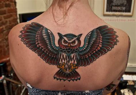 owl back tattoo open wings owl flying on upperback