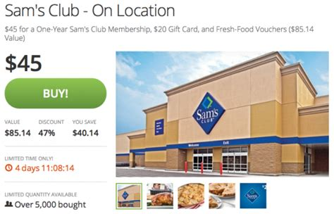 Sam Club Membership 20 Gift Card - sam s club one year membership 20 gift card plus 85 worth of free food money