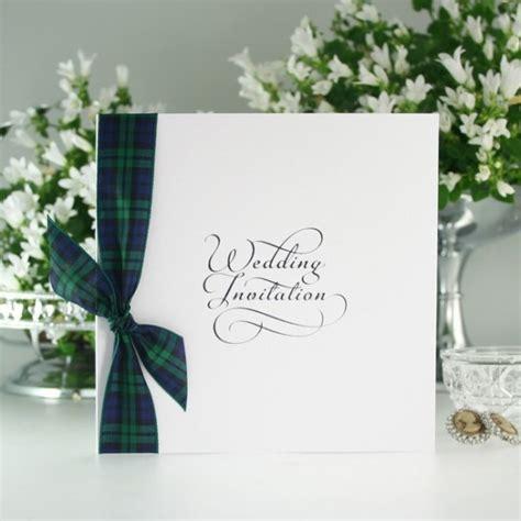 black tartan wedding invite with ribbon