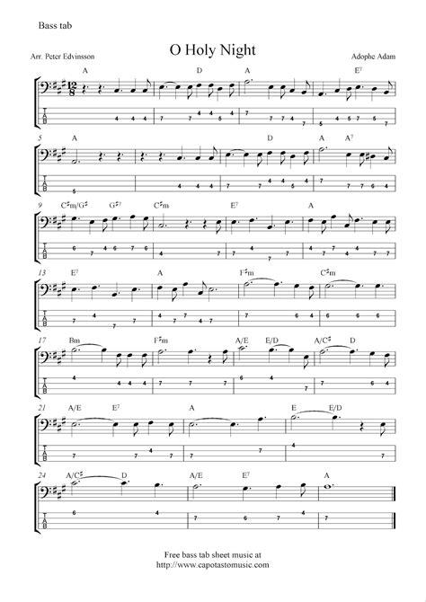 printable sheet music for o holy night o holy night free christmas bass tab sheet music notes