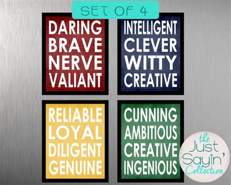 hogwarts house traits set of four harry potter hogwarts house 8 x 10 prints traits