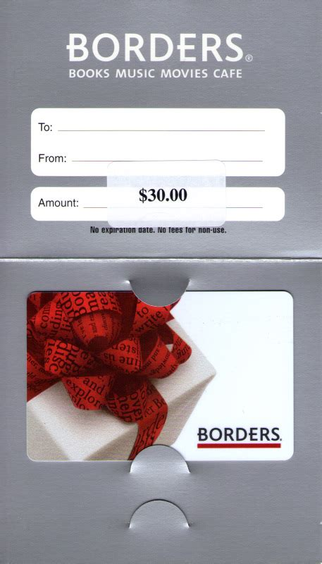 Borders Bookstore Gift Card - critically analyse gift card creditors