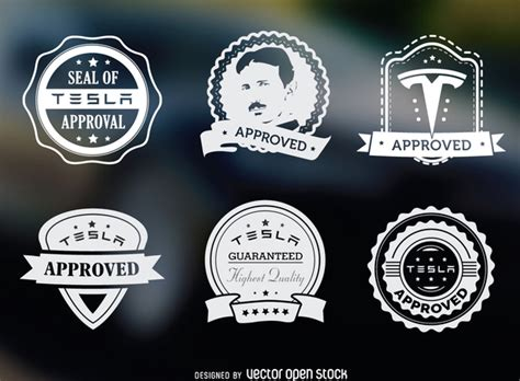 Stempel Timbul Elektrik Electric Emboss St tesla approved label set free vector 365455 cannypic