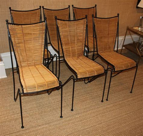 Wrought Iron Dining Room Chairs Set Of Six Wrought Iron And Bamboo Dining Chairs Attributed To Ficks Reed At 1stdibs