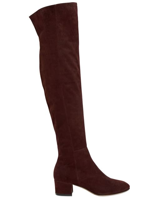 gianvito 45mm suede the knee boots in brown lyst