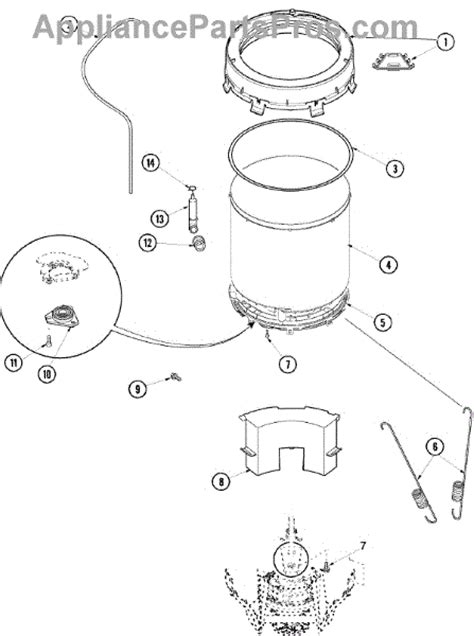 amana washer parts diagram parts for amana alw480daw outer tub parts