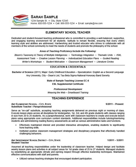 Resume Exles For College Teachers Elementary School Resume Exle Sle