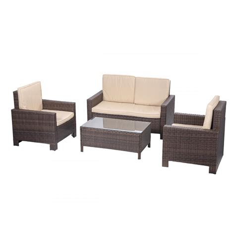 sofa loveseat ottoman set 4pc pe rattan wicker sofa set cushion outdoor patio sofa