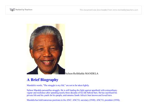 nelson rolihlahla mandela short biography nelson rolihlahla mandelaa brief biography gcse politics