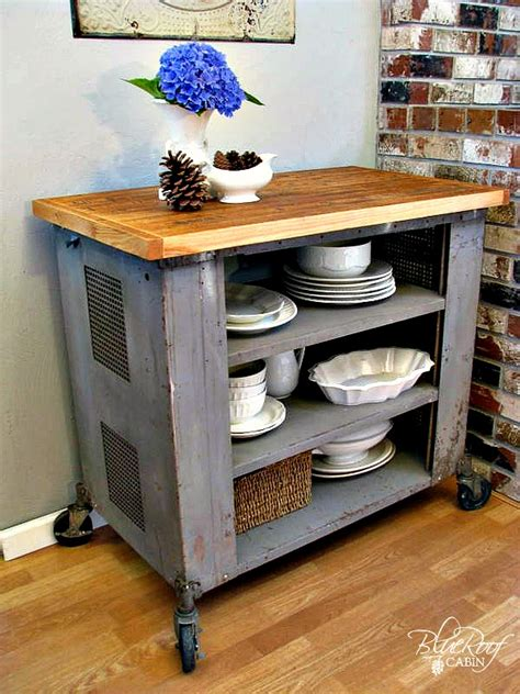 Diy Kitchen Island Cart | blue roof cabin diy industrial kitchen island or cart or