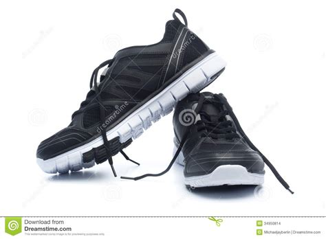 Shoe Unlimited Sr 5003 Black pair of black sport shoes sneakers stock photo image 34950814