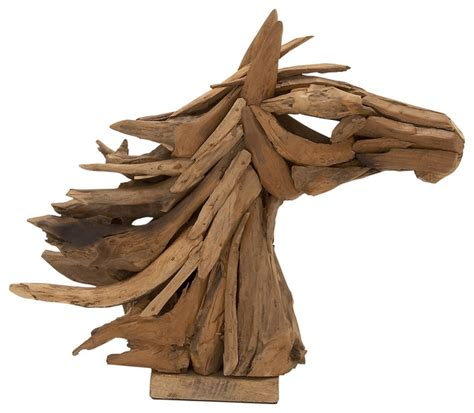 sculpture home decor wood teak horse head rustic home decor by wildorchid