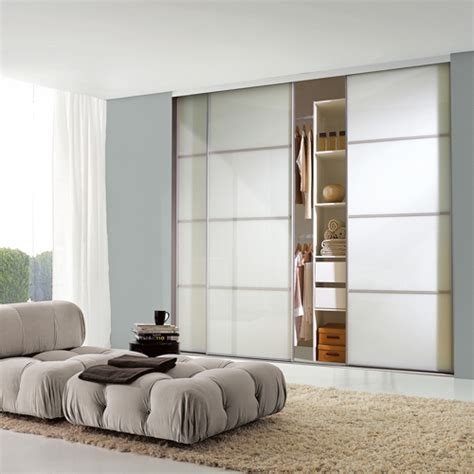 Wardrobe Doors With Glass Panels by Silver Frame Soft White Glass 4 Panel Sliding Wardrobe Door