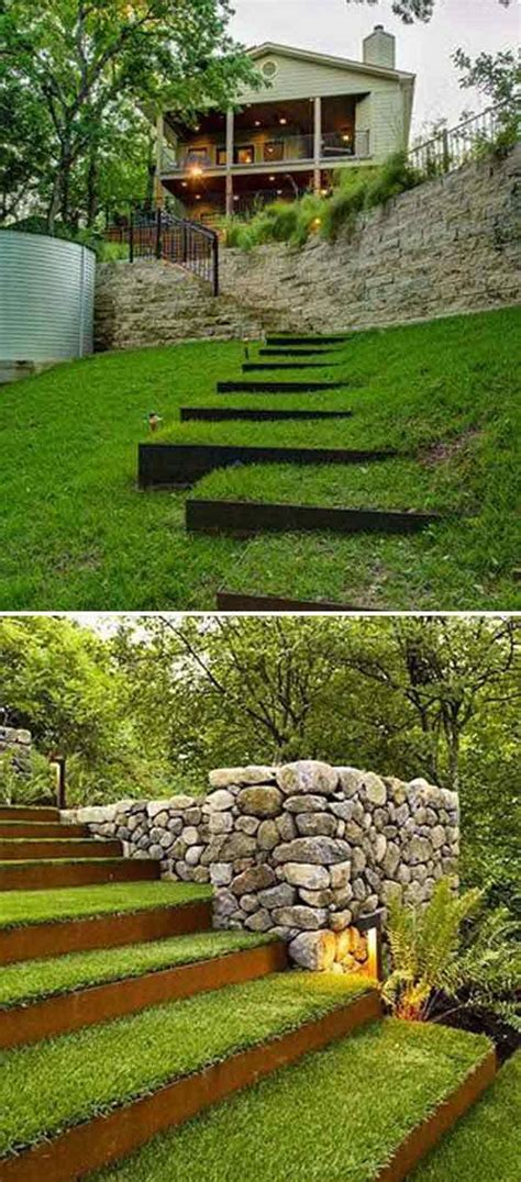 how to make a sloped backyard flat best 25 garden stairs ideas on outdoor stairs