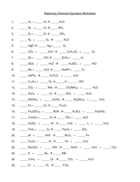 Balancing Chemical Equation Worksheet by Balance Equation Worksheet Free Worksheets Library