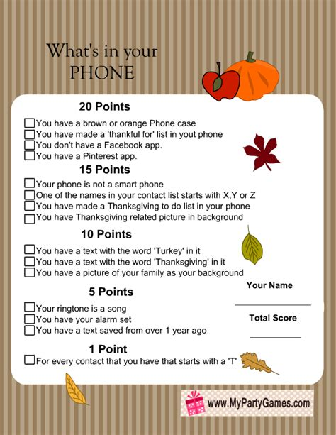 thanksgiving printable games for adults what s in your phone free printable thanksgiving game for