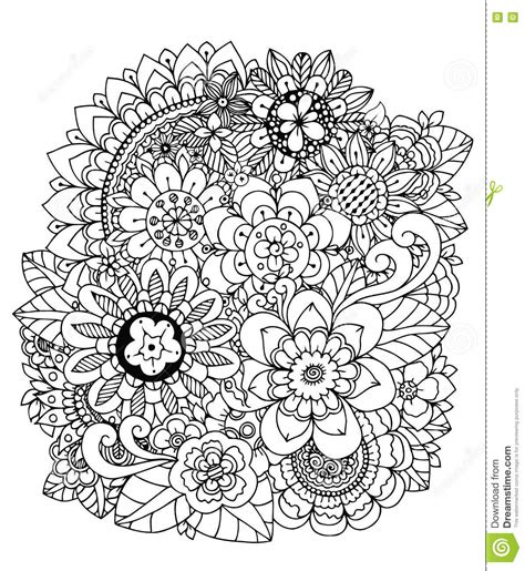 town coloring book stress relieving coloring pages coloring book for relaxation volume 4 books vector illustration flowers doodle drawing