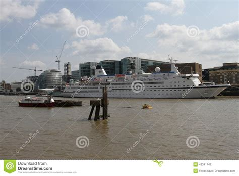 thames river shipyard cruise ship on river thames london editorial photography