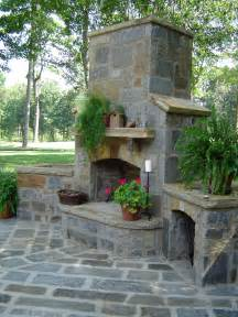 French Country Stone Outdoor Fireplace