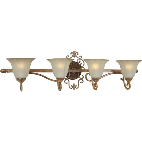 rustic bathroom vanity lighting shop shandy 4 light rustic sienna vanity light at lowes com