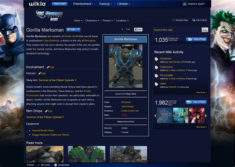 forum character page formatting dc universe online wiki