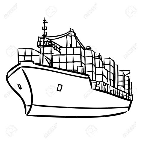 how to draw a cargo boat ship outline drawing at getdrawings free for